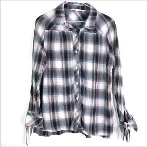 Hippie Laundry Shirt Hi-Lo Check Flannel Tie Cuffs